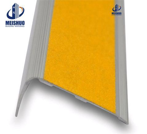 Safety Stair Nosings With Yellow Adhesive Carborundum Insert