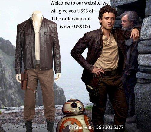 Manluyunxiao Star Wars 8 Poe Dameron Cosplay Costume Adult Full Set For Men