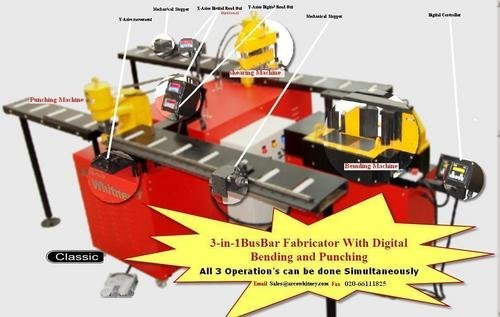 3 IN 1 BUS BAR FABRICATOR WITH DIGITAL BENDING & PUNCHING MACHINE