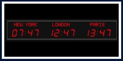 Digital Time Zone Clocks