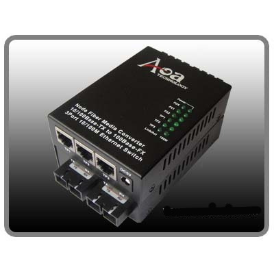 Fiber Media Converter With 3tx+2fx Port