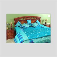 Blue Silk Bed Cover With Quilt