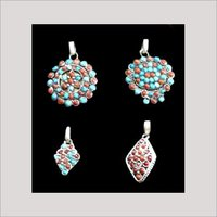 Designer Stone Beaded Silver Pendants