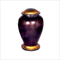Large Roman Style Leather Brown Cremation Urn
