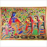 Krishna Painting with Gopis