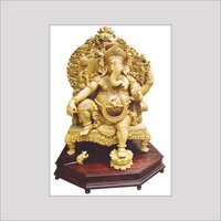 Whitewood Carved Ganesha Figure