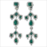 Green Emerald Diamond Earrings
