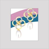 DESIGNER GOLD EARRINGS WITH STUDDED DIAMONDS