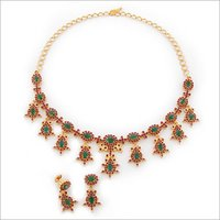 Gold Ruby Studded Necklaces