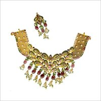 DESIGNER GOLD ANTIQUE NECKLACE SET