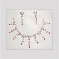 STERLING SILVER DIAMOND NECKLACE SET
