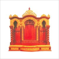 Antique Wooden Temple With Gold Polish