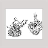 LADIES HEART SHAPE DIAMOND EARRINGS