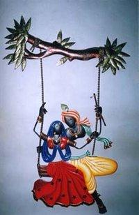 Radha Krishna Metal Wall Hanging