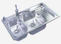 KITCHEN SINK WITH TWO BOWL & DRAIN BOARD