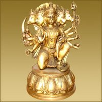 Hanuman Sitting With Five Face On Lotus Base