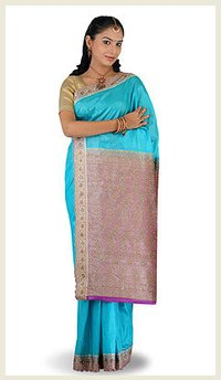 Pure Tussar Silks Sky Saree