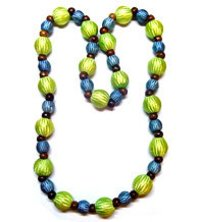 Chevron Blue And Green Beads Necklace