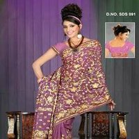 Golden Zari Embroidered Sarees