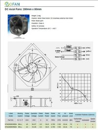 280mm X 80mm Dc Axial Flow Fans For Bts Rooms