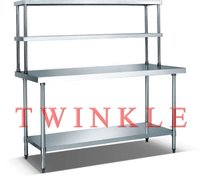 With 2 Double Overshelf Stainless Steel Work Bench HWT-2-69TD