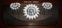 White Beads Clutch Bag
