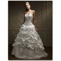 A-Line Strapless Sleeveless Chapel Train Satin Lace Wedding Dresses