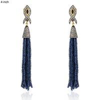 Blue Sapphire Tassel Earring