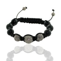 Black Onyx Gemstone Macrame Thread Diamond Beads Bracelet