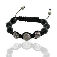 Black Onyx Gemstone Macrame Thread Diamond Beads Bracelet
