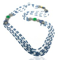 Sapphire Gemstone Diamond Beaded Gold Necklace