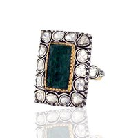 Rosecut Diamond Emerald Gemstone Ring