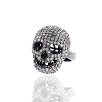 Pave Diamond Skull Sterling Silver Ring
