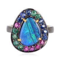 Turquoise Gemstone Pave Diamond Designer Snake Ring