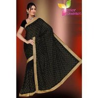 Black Golden Border Embroidered Saree