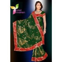 Green Red Border Embroidery Sarees