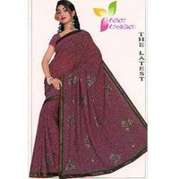 Printed Embroidered Chiffon Sarees