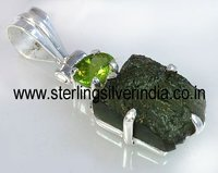 Moldavite, Peridot Pendants