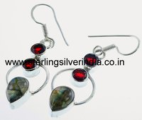 Labradorite, Garnet Earrings