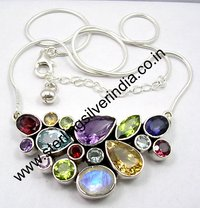 Multi Cut Stone Necklace