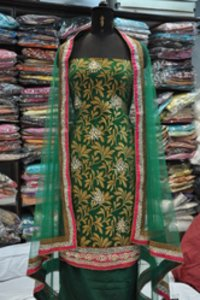 Suit With Hand Embroidery On Banarasi Handloom Fabric