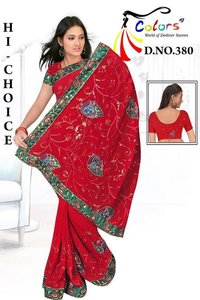 Gorget Resham Peacock Work Saree
