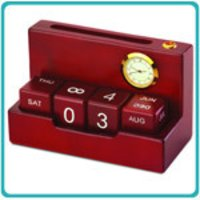 Wooden Calendar With Card And Pen Holder