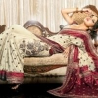 Cream With Maroon Saree