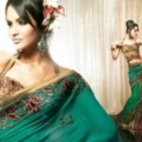 Greem With Golden Saree
