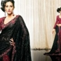 Black With Red Saree