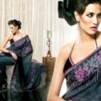 Grey With Black Saree
