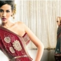 Red With Brown Shaded Saree