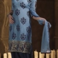 Light Blue With Dark Blue Salwar Suit