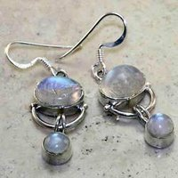 White Rainbow Moonstone Metal Earrings